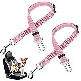 Cintura di Sicurezza per Cani, Regolabile in Nylon Riflettente Cane Gatto Cintura per Seggiolino con Elastic. ( Rosa)