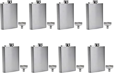FF Elaine Stainless Steel Flasks, Easy Pour Funnel is Included,  8 oz,  Set of 8
