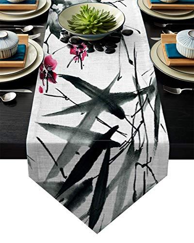 Camino de Mesa Japón Tradicional Hojas de bambú Ilustración artística Camino de Mesa rústico Caminos de Mesa de Granja,Arte Moderno Juegos de Cocina y Comedor