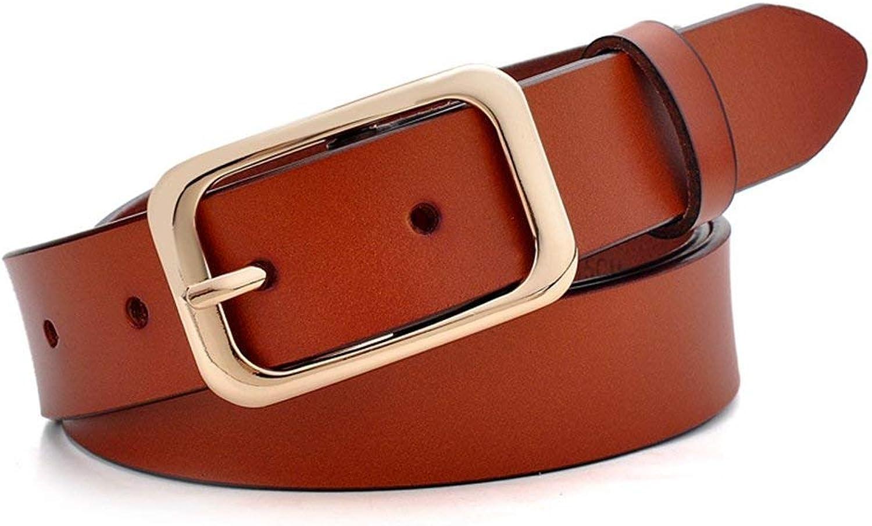 """BGRFEB Women's belt ladies belt Leather buckle buckles buckle wide belt  Twolayer cowhide  1.16""""Wide  (color   Brown)"""