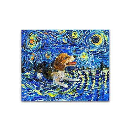 WIOIW Tier-Karikatur-niedliches Haustier, das sternenklaren Nachthimmel-Wolken-Leinwand-Malerei-Graffiti-Wandkunst-Bild-Plakat-Wohnzimmer-Schlafzimmer-Pflegeladen-Hauptdekor betrachtet