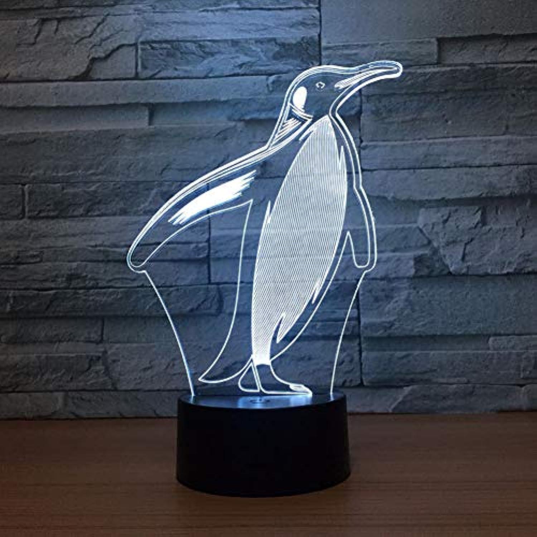 Wuqingren Nette Pinguine 3D Nachtlicht LED Remote Touch Switch 7 Farbwechsel Tier Schreibtischlampe Innenlampe Als Geschenk des Kindes,Blautooth Stereo