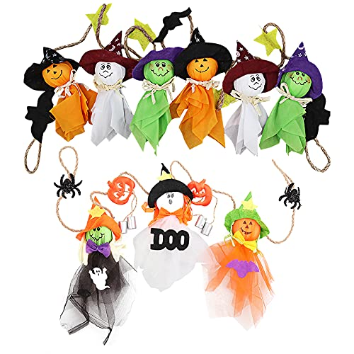 2 juegos decoración de Halloween fantasma colgante Banner de muñeca Halloween Fantasma colgante de decoración Halloween Adornos colgantes de fiesta Halloween para casa embrujada interior al aire libre