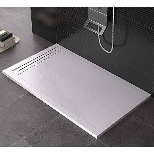 Plato de ducha 70 x 80 cm de piedra Maier Oasis blanco