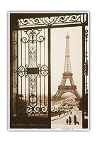 パリ、フランス - エッフェル塔 - トロカデロ、シャレーヨ宮殿からの眺め - ビンテージな世界旅行のポスター c.1925 - アートポスター - 33cm x 48cm