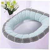 Angoter Cojín de baño WC WC se Puede Lavar WC Caliente Contraste Suave cojín del Aislamiento del cojín de Cubierta de Invierno de Color Bicolor cojín de Asiento