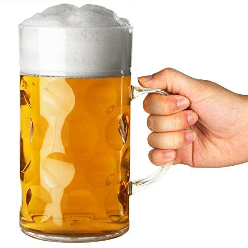 bar@drinkstuff Bicchieri di birra in plastica da 1 litro, con posto per schiuma e maniglia