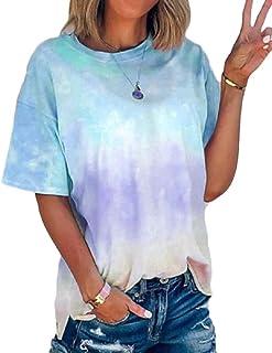 Gocgt Women's Gradient Short Sleeve Tie Dye Blouse T Shirts Tunic Tees
