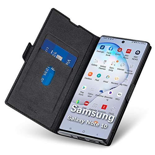 Aunote Samsung Note 10 Hülle, Handyhülle Samsung Galaxy Note 10, Samsung Note 10 Schutzhülle, Samsung Note 10 Tasche, Samsung Note 10 Klapphülle, Etui Flip Cover Hülle, Note 10 Hülle klappbar. Schwarz
