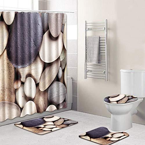 NICEME Juegos de baño de 4 Piezas con alfombras Antideslizantes, Tapa de Inodoro, Alfombra de baño y Cortina de Ducha con 12 Ganchos, para decoración del día de San Valentín (Color : 8)