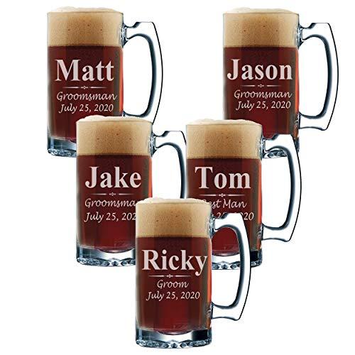 Set of 3, Set of 5 Set of 7 and more Personalized Groomsmen Beer Glasses - Custom Engraved Groom, Best Man Gift Mugs - 3 Lines Style 12 oz (5)