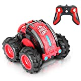 Blexy RC Crawler RC Stunt Car Remote Control Car with Two Batteries 1/24 Scale 4WD 2.4GHz Racing Vehicle 360° Spins & Flips Land Water Multifunction Amphibious Tank Gifts (Red)