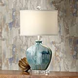 Mia Coastal Contemporary Style Table Lamp Blue Clear Drip Ceramic Off White Oval Shade Decor for Living Room Bedroom Beach House Bedside Nightstand Home Office Reading Family - Possini Euro Design