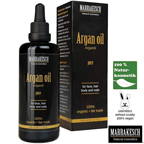 Marrakesch bio puro Argan aceite 100ml I cosmético Argan Oil I Organic y Vegan I Serum para anti-edad I 100% Natural I para vello facial piel clavos I Humedad spendend I 100% prensado en frío