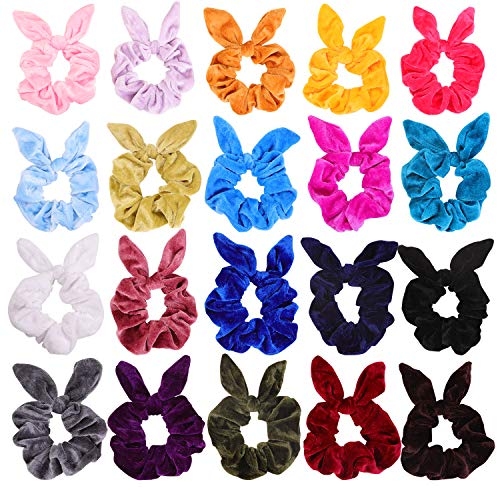 KECUCO 20 Colors Bunny Ears Scrunchies Hair Scrunchies Velvet Scrunchies Rabbit Bunny Ear Elastic Hair Bands Hair Ties Ponytail Holders for Women or Girls, Bow Scrunchies for Hair