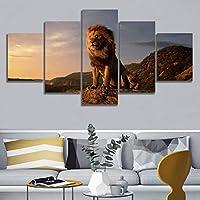 キャンバスプリント絵画壁アートポスター高山の5ピースライオンキングモジュラー画像モダンなリビングルームの装飾| 30x40 30x60x2 30x80cm /フレームなし