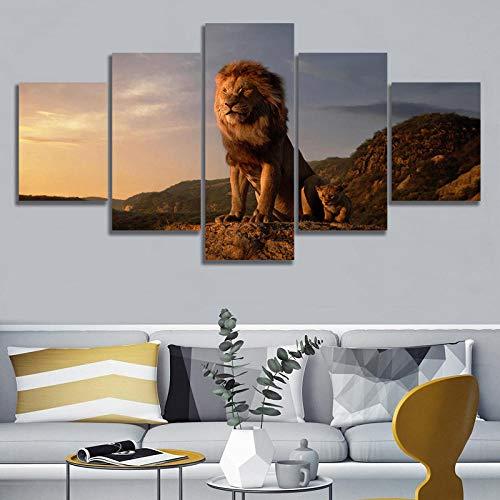 DMPro Leinwand Malerei Wandkunst Poster 5 Satz König der Löwen Auf Dem Hohen Berg Modulare Bild Moderne Wohnzimmer Wohnkultur 40x60 40x80 40x100 cm kein Rahmen