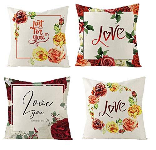 AtHomeShop 45 x 45 cm Fundas de cojín en lino con corona Just for You Love Rose, funda de cojín cuadrada suave, para coche, salón, dormitorio, oficina, decoración, multicolor, juego de 2