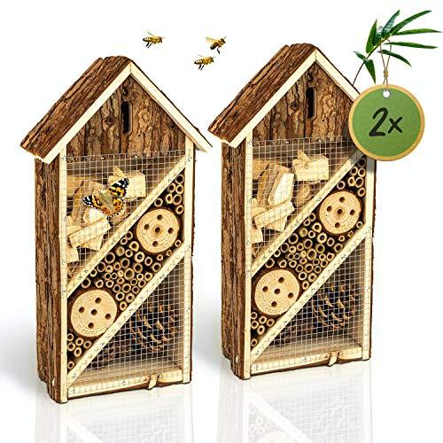 bambuswald© 2 Stück : Insektenhotel 19,5 x 10 x 37 cm | Bienenhotel Unterschlupf für Insekten - Insektenhaus Naturmaterialien. Gelebter Natur- & Artenschutzfür Zuhause -NistkastenHausNützlingshotel