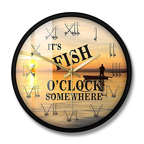 This is Fior Clock Fishing Boat Sunset Scenery Wall Clock Fisherman Fishing Rod Roman Numerals Home Decoration Clock 12 Inch with Frame