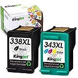 Kingjet Cartuchos de Tinta remanufacturados 338XL 343XL compatibles con HP 338 XL 343 XL para HP DeskJet 460C 9800 6540 5740 PSC 1610 2355 PhotoSmart 2575 2610 C3180 8750GP B8350 OfficeJet 470