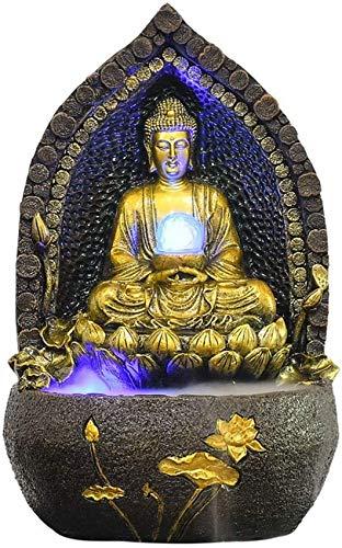 23.2'Cascada de Fuente de Agua de Mesa de Buda Zen con nebulizador Lotus Buddha Fuente LED para Mesa de Interior Escritorio Escritorio de Cascada Adornos de Feng Shui Decoración de Fuente