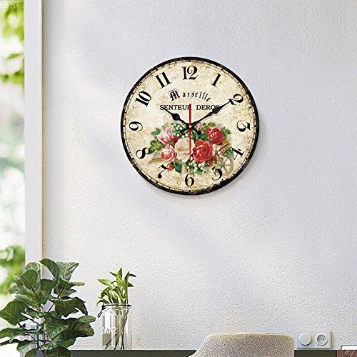 WALL CLOCK WERLM Restaurant sépia Chambre Salon Murs sont décorés Restaurant Salon Table Horloge Murale Horloge silencieuse décoration Murale Horloge Murale, 20 cm, 5