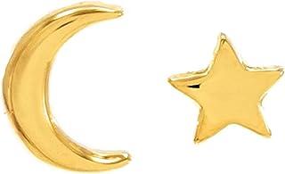 Aretes de Estrella y Luna - Chapa Oro 22k - Elegantia Jewelry