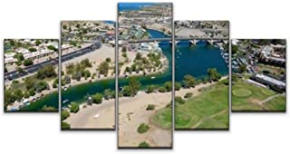 Skipvelo 5 Panels Wall Canvas Prints Pictures, Aerial of Lake Havasu City, Arizona arizonas and Pictures Wall Paintings Wall Decor Stretched and Framed Ready to Hang