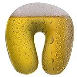 Gotas de Agua de Cerveza en Vidrio, Almohada para el Cuello en Forma de U, cómoda Almohada de Viaje de Microfibra Suave para el Cuello, para el hogar, Dolor de Cuello