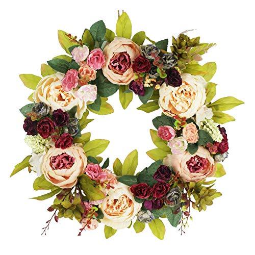 æ— Künstlicher Pfingstrosenblumenkranz, 45 cm, Blumenkranz mit grünen Blättern & Rose, dekorativer Frühlingssommer-Girlande, Weinrebenkranz für Haustüre, Hochzeit, Fenster, Wand, Heimdekoration