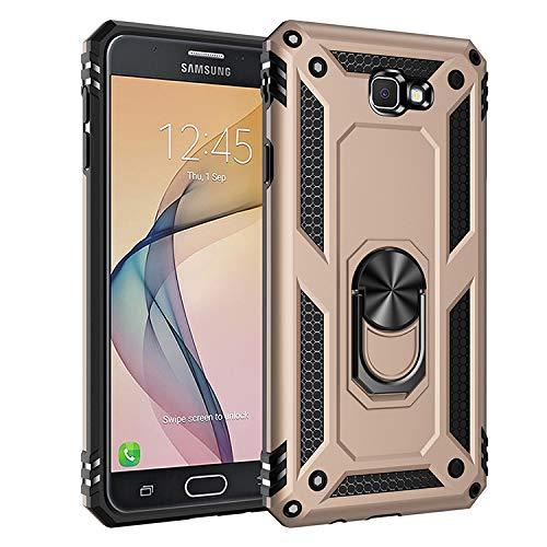 BestST Galaxy J7 Prime /On7 2016 Premium Hart PC 360 Grad Hülle On7 2016 Hülle + Panzerglas,360°drehbarer Smartphone Fingerhalter Hülle Weiche Silikon TPU + Hart PC Hülle für Galaxy J7 Prime/On7 2016