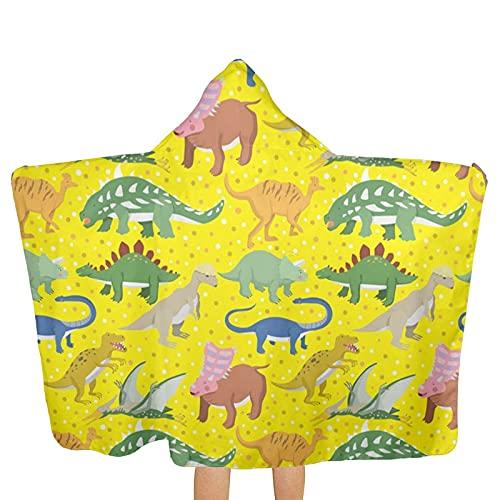 Bingyingne Toallas con Capucha de Dinosaurio para niños, Toallas de baño de Playa de Secado rápido Ultra Suaves Extra Grandes con Capucha para niños y niñas