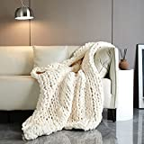 Victusphia Chunky Knit Blanket Throw Chenille Knitted Yarn Throw Blanket for Couch & Bed Fall Decor Large Soft Comfy Cable Blankets & Throws Beige Cream 50'x60'