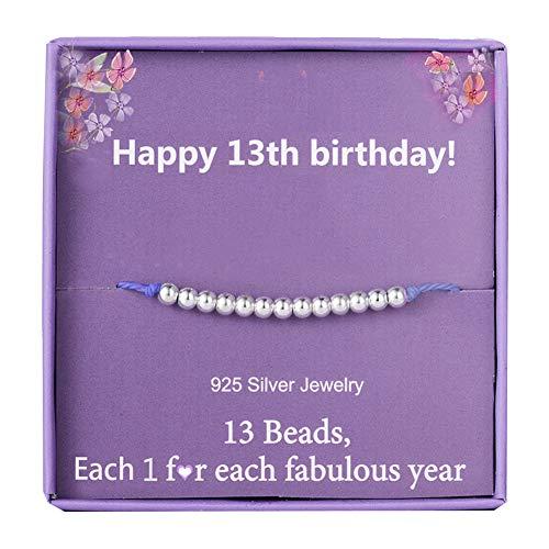 13th Birthday Bracelet Gifts for Girls Sterling Silver Beads Bracelet for...