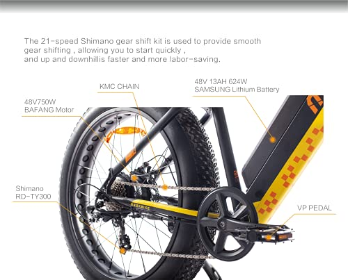 MZZK 500W/750W Motor Electric Mountain Bike for Adult Fat Tire Electric Bicycle with 48V 13Ah Removable Battery 7-Speed Powerful Ebike Pedal Assist