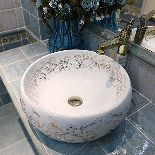 Jgophu Europa Stil chinesische Waschbecken Waschbecken Art Countertop Keramik Waschbecken Waschbecken bemalt Porzellan Waschbecken