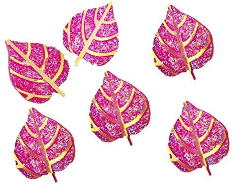 Syntego roze en goud glitter bladeren 26mm hars kerstversieringen kaart maken ambachten