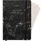 """Lebenskompass® Bullet Journal QUOTE """"GOLDRAUSCH"""" - Notizbuch A5 Extradickes Papier, Dotted 5 mm, Gummiband, 115 g/m² FSC Papier - Bujo Buch & Tagebuch"""