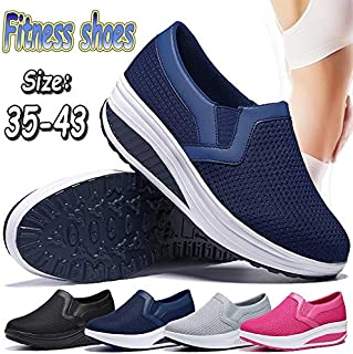 Women Shoes Shake Shoes Casual Mesh Shoes Fitness Sneakers Platform Sneakers Breathable and Comfort Size:35-43(Grey,EU42/US10/260mm)
