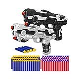 Kitoyz 2 Pack Blaster Toy Guns Darts Gun for Boys, Kids LED Gun Toys Set with 60 Pcs Soft Foam Bullet Dart for Kids Birthday Gifts Party Supplies for 4 5 6 7 Year Old Boys (White & Black)