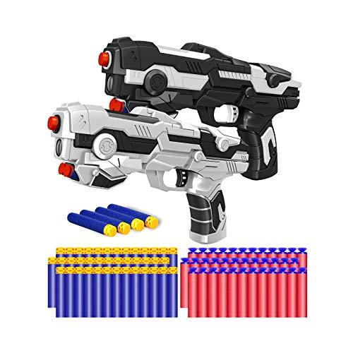 Kitoyz 2 Pack Blaster Toy Guns Darts Gun for Boys, Kids LED Gun Toys Set with 60 Pcs Soft Foam Bullet Dart for Kids Birthday Gifts Party Supplies for 6 7 8 9 Year Old Boys (White & Black)