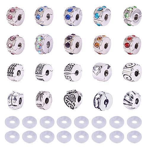 PandaHall Elite 20 Pcs europäischen Stil Strass Clip Lock Stopper Bead Charms mit Gummi Stopper O-Ringe für Schmuck Machen, Mischfarbe