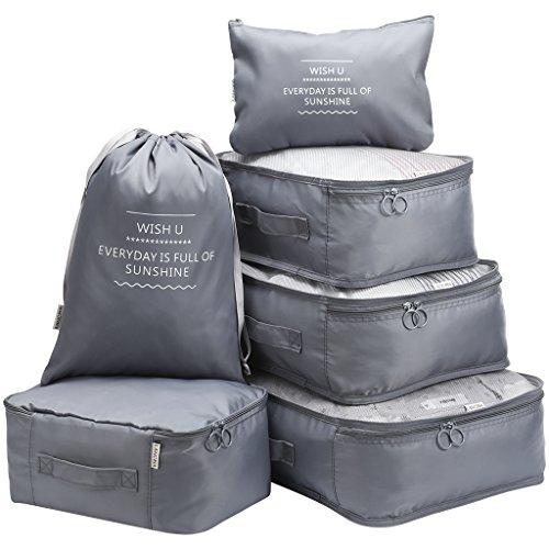 LANGRIA - Set di 6 borse da viaggio multifunzionali per l'ordinamento dei vestiti, sacchetti di compressione da viaggio, borsa organizer per bagagli (grigio)