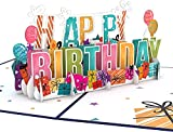 Lovepop Happy Birthday Pop Up Card, 5x7 - 3D Birthday Greeting Card, Birthday Pop Up Cards for Kids & Friends, 3D Birthday Card, Celebration Card