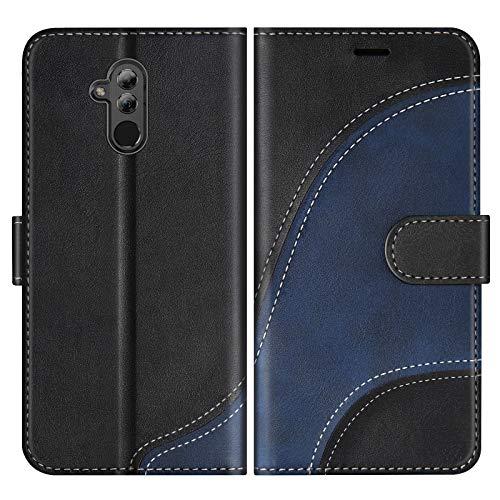 BoxTii Cover per Huawei Mate 20 Lite, Custodia in PU Pelle Portafoglio per Huawei Mate 20 Lite, Magnetica Cover a Libro con Slot per Schede, Nero