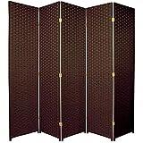 Oriental Furniture 6 ft. Tall Woven Fiber Room Divider - 5 Panel - Dark Mocha
