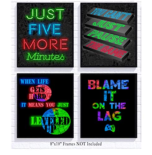 RGB Retro Themed Video Game Art Print Room Wall Decoration (Set or Four) Gamer Decor (Neon with...