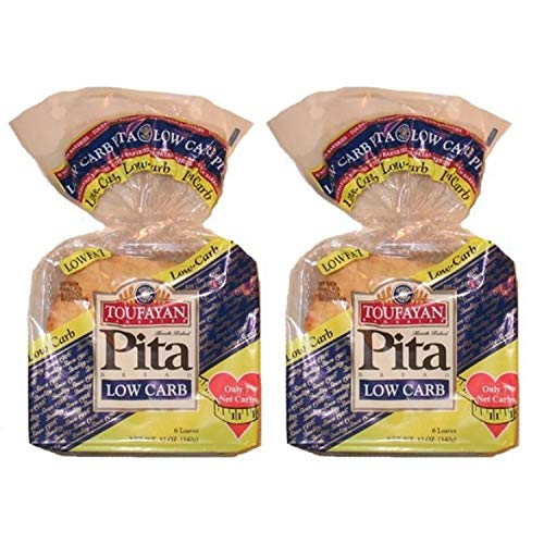 2 Pack Value: Toufayan Bakeries Low Carb Pita Bread, 12 Loaves Total, Includes Low Carb Recipe E-Book