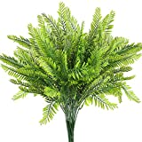 6Pcs Artificial Boston Fern Plants Greenery UV Resistant Fake Plants Greenery for Outdoors Fern Plant for Hanging Planter Front Porch Garden Sidewalk Farmhouse Decoration